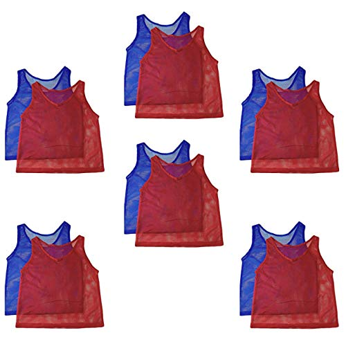 Adorox 12 Pack Youth Scrimmage Practice Jerseys Team Pinnies Sports Vest for Soccer, Football, Basketball, Volleyball (6 Blue and 6 Red)