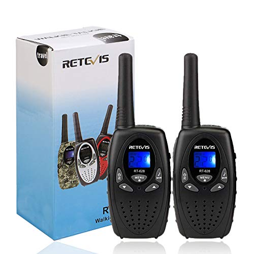 Retevis RT628 Walkie Talkie for Kids,Toys for 3-12 Year Old Boys Girls, Portable 2 Way Radios with 22 Channels VOX Backlit Flashlight,for Outdoor Adventure Game(Black,2 Pack)