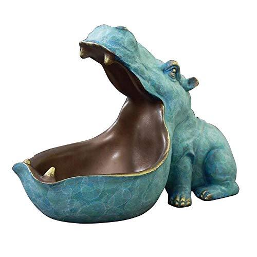 22cm Resina Hippo Figurinas Llavero Decoración de Escritorio Accesorios Hogar Porche Control Remoto Almacenamiento Animal Ornamento Regalo Estilo 3_España