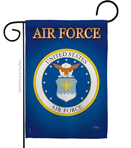 Breeze Decor US Air Garden Flag Armed Forces USAF Officially Licensed United State American Military Veteran Retire Decorative, 13x 18.5, Thick Fabric