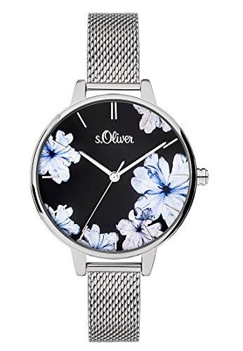s.Oliver Damen Analog Quarz Uhr mit massives Edelstahl Armband SO-3777-MQ