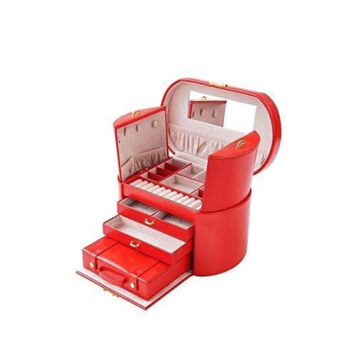 SHYPT Caja de joyería, joyería de imitación de cuero del organizador, organizadores de almacenamiento cosmética caja de cuero grande de la joyería capacidad de la caja de la correa de bloqueo de múlti