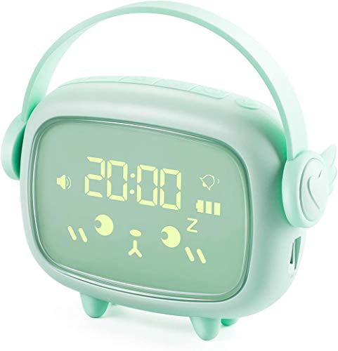 SETSCZY Reloj Despertador Digitales Infantil Niña Niños Luz de Noche Dormitorio de Los Niños Pantalla LED con Hora, Silenciosa Reloj Despertador de Cabecera,Verde