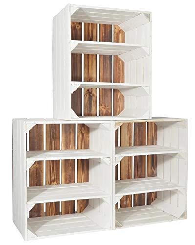CHICCIE 3 Set Holzkiste Grete Weiß Geflammt - 2X Kurzes Regal Obstkiste Dekokiste Weinkiste Ablage 50x40x30cm Gehobelt - 3