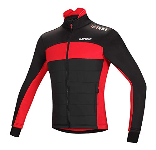 Santic Men's Cycling Jacket Winter Coat Windproof Thermal Long Jersey Red 3X-Large(US 2XL)