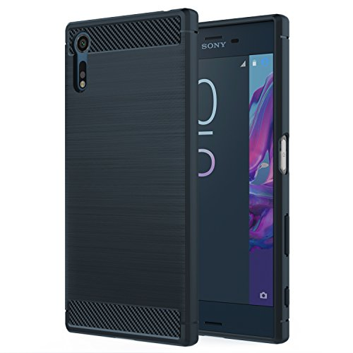 MoKo Sony Xperia XZ/XZs Hülle - Premium Ultra Slim Leicht weiches TPU Protector Phone Hülle Handy Schutzhülle Schale Bumper für Sony Xperia XZ/Xperia XZs 2017 5,2 Zoll Smartphone, Marineblau