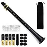Pocket Saxophone Kit, FOVERN1 Mini Sax Portable Woodwind Instrument Professional instruments with 4 Reeds, 8 Dental pad, Fingering Charts, Carrying Bag for Amateurs and professional performers (black)