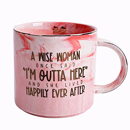 Retirement Gifts for Women - Funny Retirement Coffee Mugs Gift for Coworkers, Boss, Mom, Sister, Aunt, Best Friend - Retired Presents for Coworker, Office, Family - Pink Marble Mug, Ceramic 11.5oz Cup