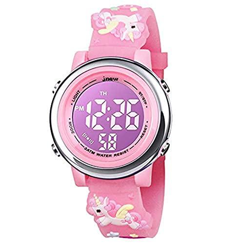 HIMTOR Kinderuhr Armbanduhr 3D Cartoon Wasserdicht 7 Farben Lichter Kleinkind Handgelenk Digitaluhr mit Alarm Stoppuhr für 3-10 Jahre Jungen Mädchen kleines Kind (Einhorn Rosa)