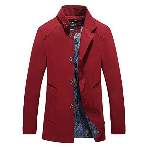 MAYOGO Herren warm Baumwolle Mäntel Jacke Männer Kurzmantel Winter Jacke Business Slim fit (rot, XXXXL)