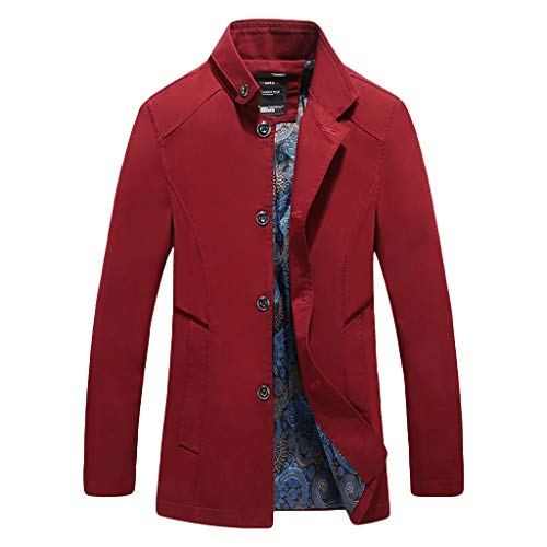 MAYOGO Herren warm Baumwolle Mäntel Jacke Männer Kurzmantel Winter Jacke Business Slim fit (rot, XL)