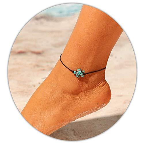 Ushiny Boho Schildkröte Fußkettchen Strand Strick Knöchel Armband Türkis Fußschmuck Fußkettchen Kette Zubehör für Frauen und Mädchen (schwarz)