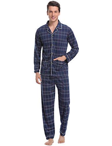 Aibrou Herren Baumwolle Pyjama Set, Karierter Zweiteiliger Schlafanzug Langarm Shirt und Pyjamahose (M, Blau 2)