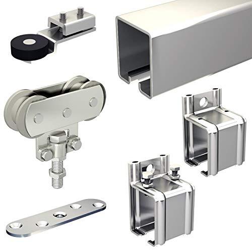 Schiebetorbeschlag SLID'UP 1700-80 mit Stahl-Laufschiene 390 cm (2x 195 cm) und Stahlrollen, mit Wandmuffe, 1 Tor bis 80 kg