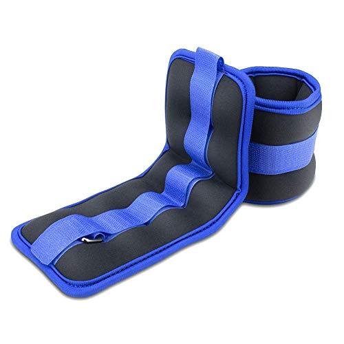 BeGrit - Pesas de tobillo ajustables para piernas, pesas y muñecas, juego de entrenamiento pares 1 kg azul para ejercicios correr caminar fitness correr aeróbicos
