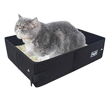 Petsfit Portable, Boîte Litière Pliable du Chat, Boîtes Litières Légere De Voyage, Tissu, 40cm X 30cm X 12cm, Couleur Noire