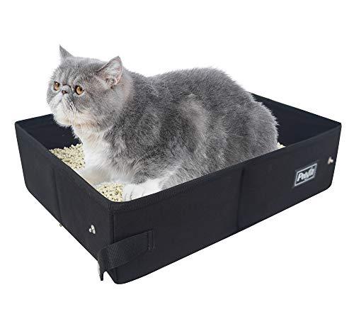 Petsfit Portable Litière pour Chat Pliable Maison de Toilette pour Chat,Boîtes Litières Légere De Voyage, Tissu,40cm X 30cm X 12cm, Noire