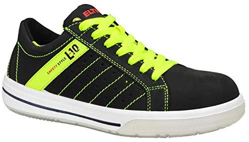 ELTEN Sicherheitsschuhe BREEZER black Low ESD S1P, Herren, sportlich, Sneaker, leicht, schwarz/neon, Stahlkappe - Größe 43