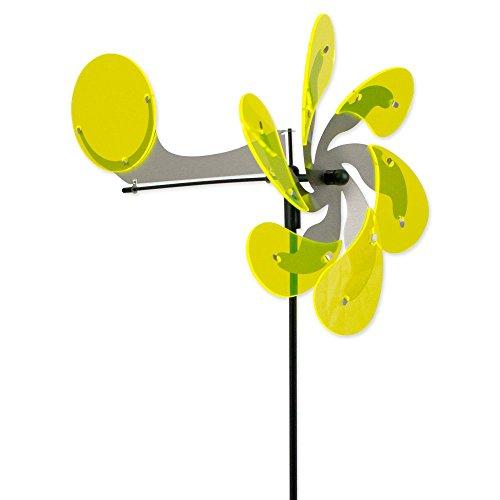 Steinfiguren Gießen Windspiel Edelstahl - Sun Dancer AERODROP gelb Flugzeug - Windrad: Ø30cm / 28,5x35cm - Gartenstecker H90cm von Dekowelt