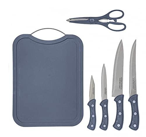Set » Tagliere da Cucina Plastico, con 4 Coltelli & 1 Forbici da Cucina | Ideale Set Utensili da cucina
