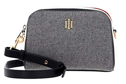 Tommy Hilfiger Damen Handtasche Tasche TH Essence Crossover Melton Grau