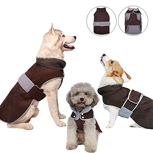 Reflective Dog Coat with a Detachable Hood for Small Medium Large Dogs, Warm Winter Dog Jacket...