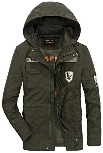 Irinay Herren Baumwolle Leichte Kapuze Feld Casual Chic Jacke Luftwaffe Mantel Mit Patches Men's Hooded Bomber Coat (Color : Armee-grün, Size : XL)