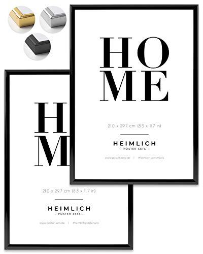 Heimlich® Doppelpack (2 STK.) Bilderrahmen DIN A4 ALU SCHWARZ | Bilderrahmen 21 x 29,7 cm (8.3 x 11.7 in) SCHWARZ mit bruchsicherem Plexi-Glas | Bilderrahmen ALU