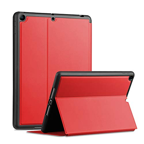 X-level Case for iPad 8th Generation (2020)/iPad 7th Generation (2019), iPad 10.2 Case with Stand, Soft TPU Back Cover Slim Smart Shell for Apple iPad 10.2 inch, Auto Wake/Sleep - Red
