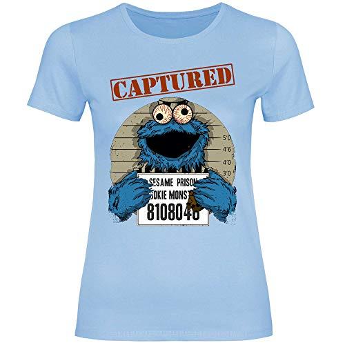 wowshirt Camiseta Halloween Cookie Wanted Terror del Monstruo de la Galleta para Mujer, Tamaño:M, Color:Sky Blue