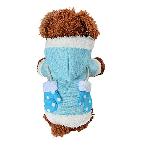 Amphia - Hundekleidung warme Mantel mit Kapuze Presse,Weihnachtshandschuhe-Haustier-Hundekatze-Winter-mit Kapuze Strickjacke-Kostüm-Kleid(M,Himmelblau)