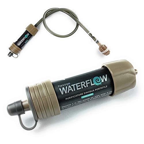 WaterFlow - Sistema de Filtración de Agua Elimina el 99,999999% de las Bacterias para Campamentos y Caminatas - Filtro de Purificación Portátil Compacto y Ligero - Previene la diarrea y la disentería