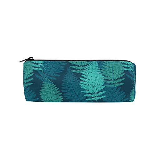BONIPE Tropisch Blauw Mimosa Bladeren Patroon Potlood Case Pouch Tas School briefpapier Pen Box Rits Cosmetische Make-up Tas