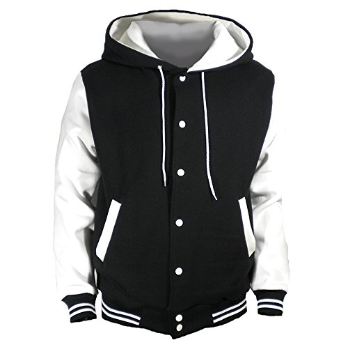U World Men's Hood Baseball Varsity Jacket White (XL)