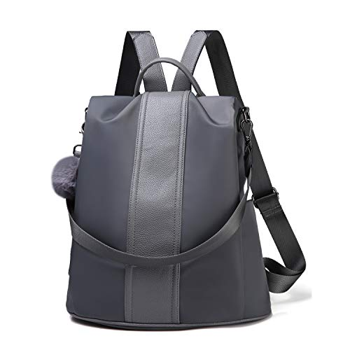 Women Backpack Purse Waterproof Nylon Anti-theft Rucksack Lightweight Shoulder Bag (Gray Large)