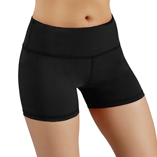 ODODOS Power Flex Yoga Short Tummy Control Workout Running Athletic Non See-Through Yoga Shorts with Hidden Pocket,Black,Large