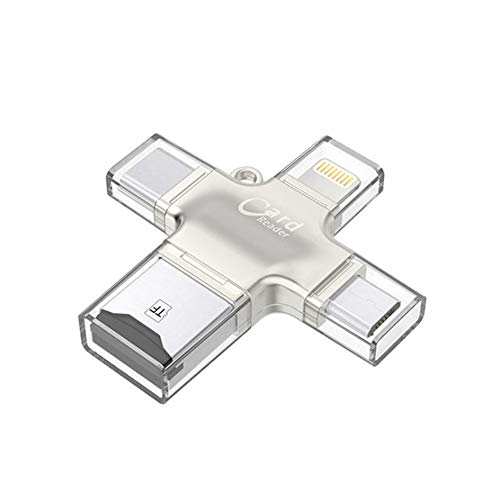 DZSF 4 in 1 SD-kaartlezer Micro Adapter Metalen USB Microsdhc/Sdxc naar Xqd kaartlezer OTG Adaptador Usb voor Verlichting Adapter