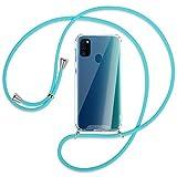 mtb more energy® Handykette kompatibel mit Samsung Galaxy M30s, Galaxy M21 (6.4'') - türkis - Smartphone Hülle zum Umhängen - Anti Shock Strong TPU Hülle
