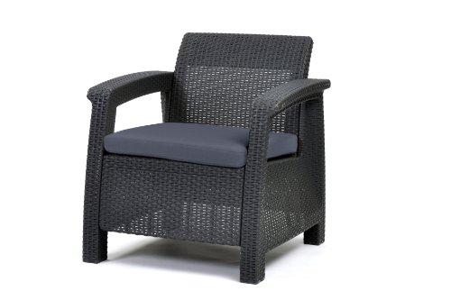 Keter Lounge Chair Rattan Corfu Plastic Lounge Chair in Graphite/Grey 75 x 70 x 79 cm