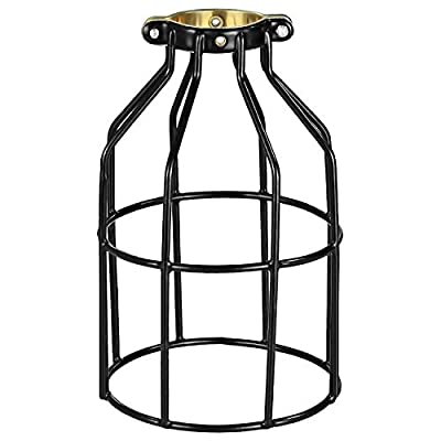 Simple Deluxe HIBULBCAGE 1-Pack Adjustable Industrial Clamp On Metal Bulb Guard Cage for Pendant, Vintage Lamp Holder and Ceiling Fan Light, Black