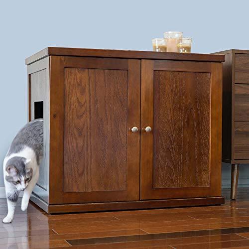 THE REFINED FELINE Cat Litter Box Enclosure Cabinet Hidden Litter Tray Cat Furniture Large  XLarge Modern Style Mahogany Color ERLBXLMAAMZ1