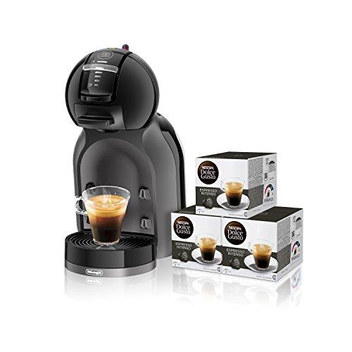 Pack De'Longhi Dolce Gusto Mini Me EDG305.BG - Cafetera de cápsulas, 15 bares de presión, color negro y gris + 3 packs de café Dolce Gusto Espresso Intenso
