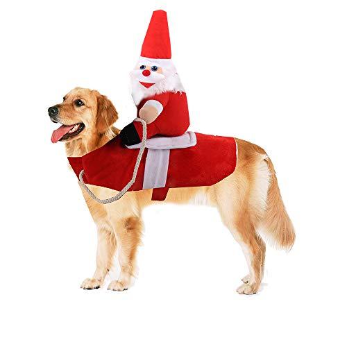 Chnaivy Christmas Dog Costume Funny Dog Christmas Santa Claus Costume Riding on Dog Pet Cat...