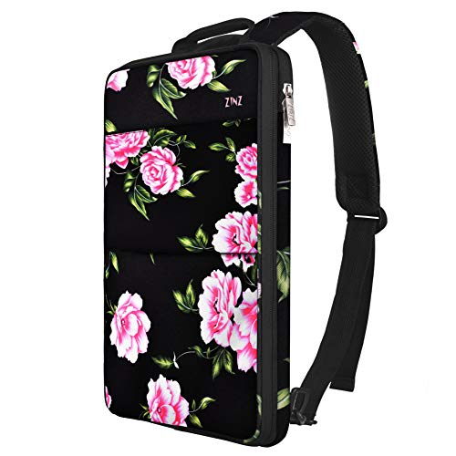Slim & Expandable Laptop Backpack 15 15.6 16 Inch Sleeve with USB Port, Spill-Resistant Notebooks Bag Case for Most 14-16 Inch MacBooks Surface-Books Dell HP Lenovo Asus Computers, Peony