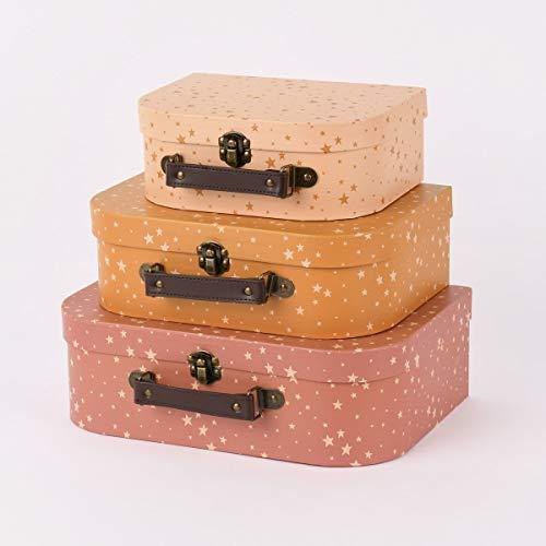 SCHÖNER LEBEN. Sass & Belle Deko Koffer 3er Set Kleine Sterne rosa gelb Creme Verschiedene Größen