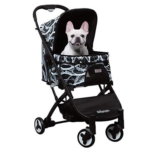 Luxus-Hund/Katze/Pet Stroller, mit Detach Träger/Pump-Free Gummireifen/Alurahmen, Kleine Hunde und Katzen und Smart Design abklappbar zu einer großen Handtasche