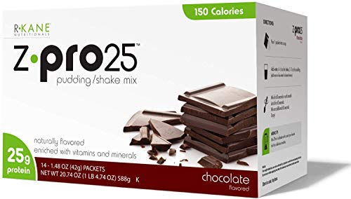 Z-Pro Chocolate - R-Kane High Protein Meal Replacement Shakes / Pudding – Z-Pro25 - Low Fat Low Carb Low Calorie - Includes 14 Packets / 25g Protein / 150 calories Per Serving (Chocolate)