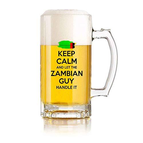 Jarra de cerveza de vidrio para restaurante, juego de pelota, jarra de cerveza, regalo de Zambia para hombres, abuelo, papá, tío, novio, mantén la calma y deja que el chico de Zambia lo maneje