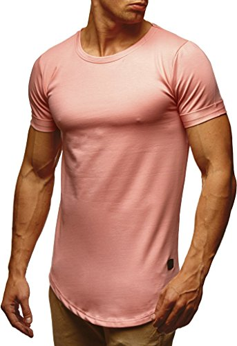 Leif Nelson Herren Sommer T-Shirt Rundhals-Ausschnitt Slim Fit Baumwolle-Anteil Moderner Männer T-Shirt Crew Neck Hoodie-Sweatshirt Kurzarm lang LN6368 Lachsrosa Large