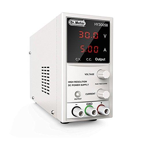 Dr.meter 30V/5A Variable Linear DC Bench Power Supply 110V/220V Switching with Alligator Leads Included, US 3-Prong Cable,PS305DM for Lab Equipment (HY3005B)